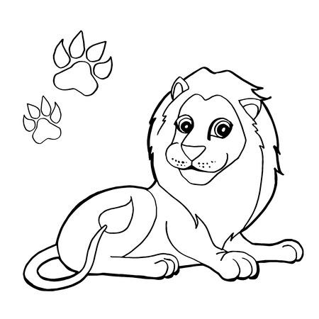 ライオンの着色のページを持つ足印刷  イラスト・ベクター素材