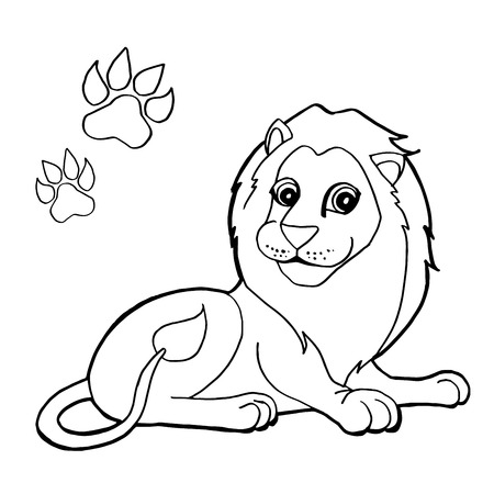 paw print with Lions Coloring Pages
