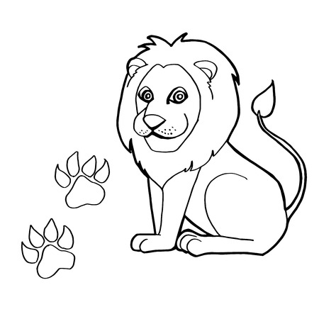 kids fun: paw print with Lions Coloring Pages