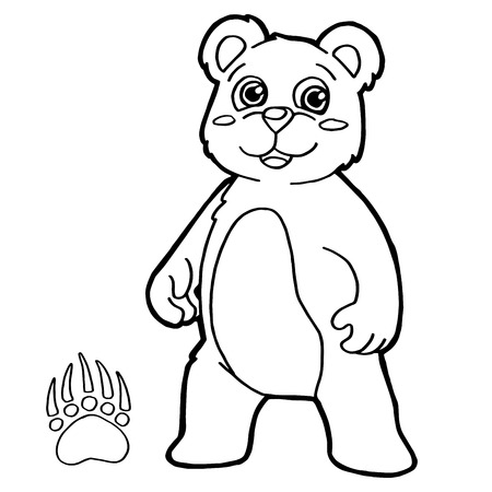 bear with paw print Coloring Pages vector