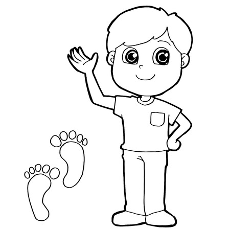 exited: kid with paw print Coloring Pages vector Illustration