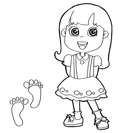 black outline: kid with paw print Coloring Pages vector Illustration