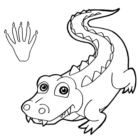 paw print with crocodile Coloring Pages vector