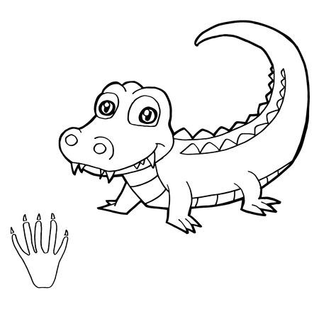 dibujos para pintar: impresi�n de la pata con el cocodrilo Colorear vectorial Vectores