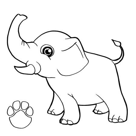 Contorno Bebé Elefante Ilustraciones Vectoriales, Clip Art ...