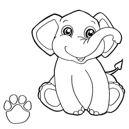 dibujos para colorear: impresión de la pata de elefante para colorear con vectores Vectores