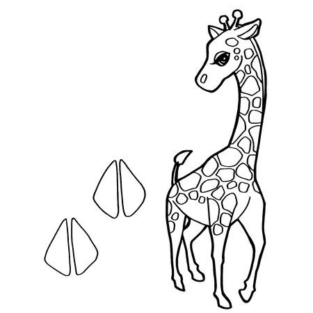 dibujos para pintar: impresi�n de la pata con la jirafa para colorear vectorial Vectores