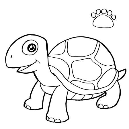 tortuga caricatura: impresi�n de la pata con la tortuga colorear vectorial Vectores