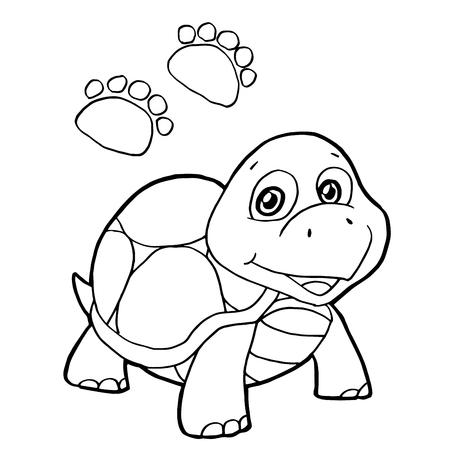 Dibujos Animados Linda Tortuga Para Colorear Página Ilustración