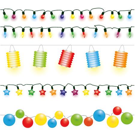 fila: Navidad y luces de parte del vector Vectores