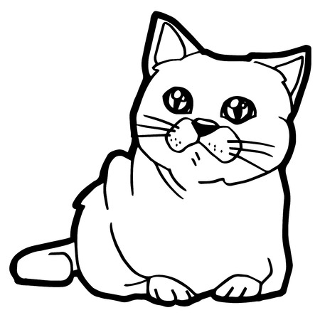 purring: cartoon Cat Coloring Page for kid isolated on white Illustration