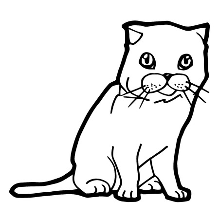 mjau: cartoon Cat Coloring Page for kid isolated on white Illustration