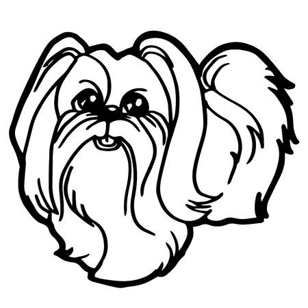 perros graciosos: Ilustración de dibujos animados de perro divertido para colorear libro