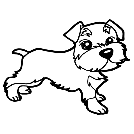 sit stay: Cartoon Illustration of Funny Dog for Coloring Book Illustration