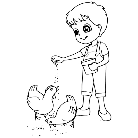 kindergartener: Coloring book  child feeding chickens vector