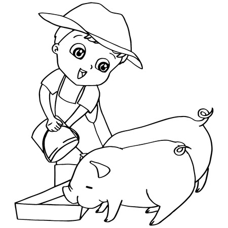 pigling: Coloring book  child feeding pigs vector Illustration