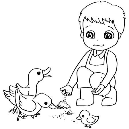 pond life: Coloring book  child feeding ducks vector