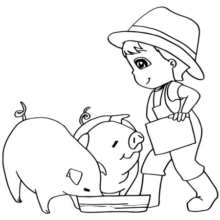 peasant woman: Coloring book  child feeding pigs vector Illustration