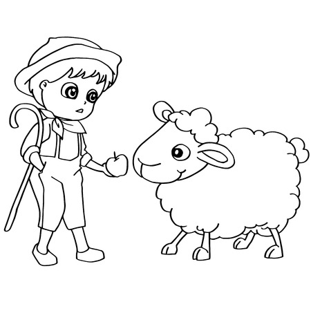 one girl only: Coloring book child feeding sheeps vector