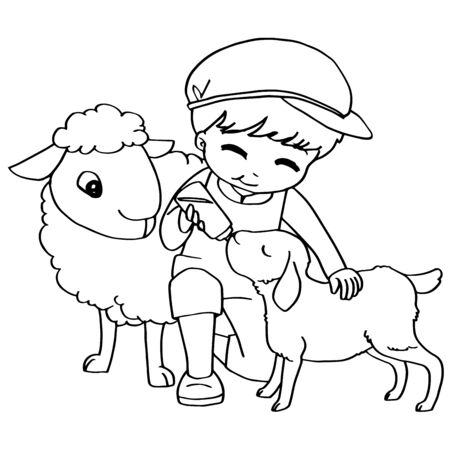 children only: Coloring book child feeding sheeps vector
