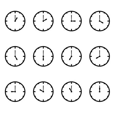 midnight time: clock that show every hour vector illustration on white vector