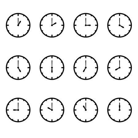 orologio che mostra ogni illustrazione ora vettoriale su bianco vettore