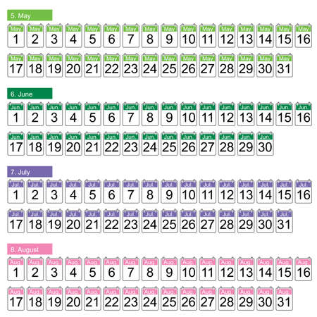 months: set of four months vector (may, june, july, august)