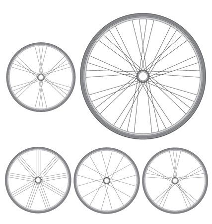 des roues de bicyclette différentes sur un fond blanc Vecteurs