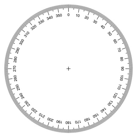 blank protractor - Actual Size Graduation isolated on background vector Stock Illustratie