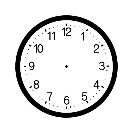 Horloge face vierge isolé sur blanc disposition
