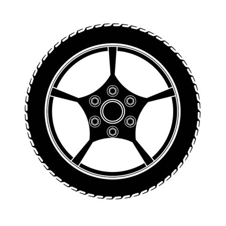Tires and wheels Vector Illustration