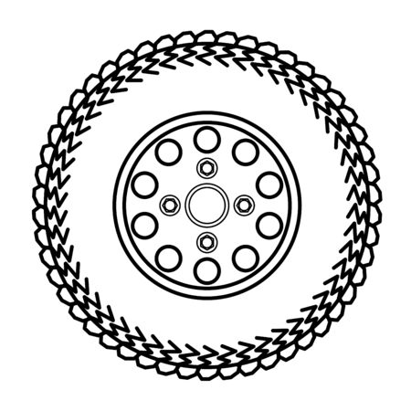 alloy wheel: tires and wheels Vector Illustration Illustration