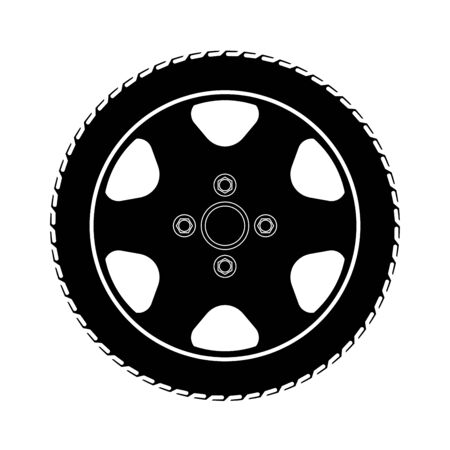 Tires and wheels Vector Illustration.