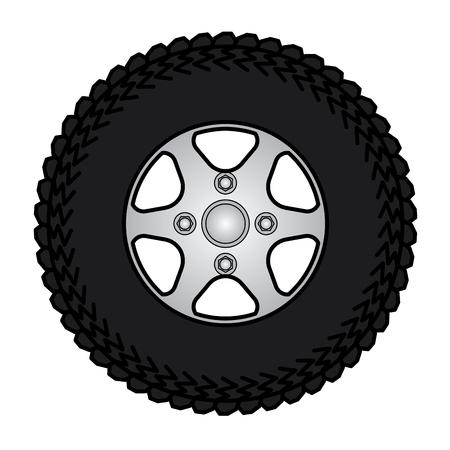 spoke: Tires and wheels Vector Illustration.