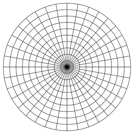Blank Polar Graph Paper - protractor -  Pie Chart vector Illustration