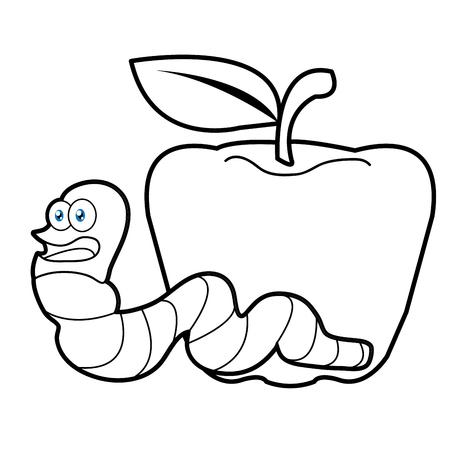 Larva Gusano Y Manzana Dibujos Animados Para Colorear Página Para