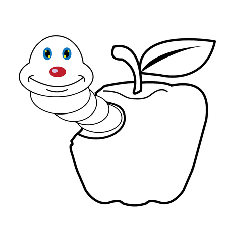 larva worm and apple cartoon coloring page for toddle