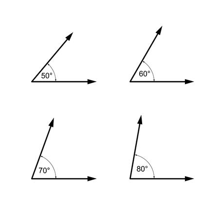 度単位の角度、幾何学の数学記号シンボル