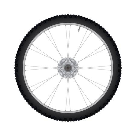 aluminium: Bicycle wheel rear wheel with gear vector