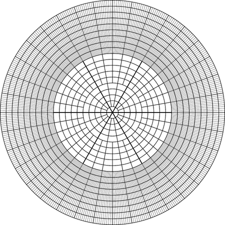 sheet of polar graph paper. Shows wear on edges and discoloration.