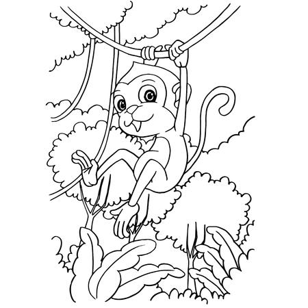 Mono De Dibujos Animados Jugando En El Bosque Para Colorear ...