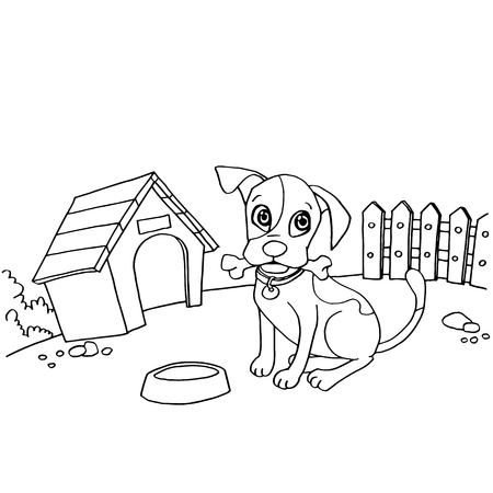 dog with bone in mouth at house cartoon coloring page vector illustration