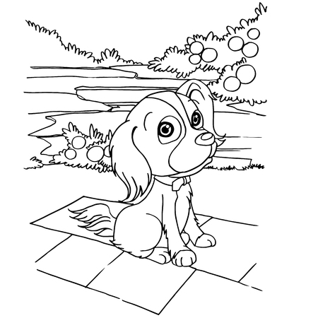 dog  cartoon coloring page vector illustration