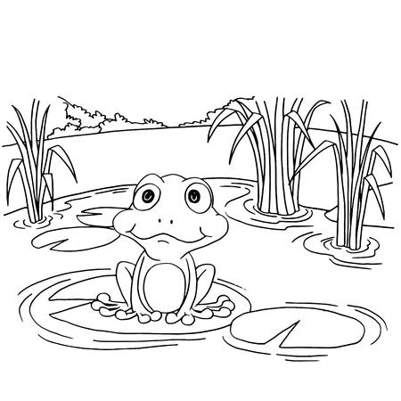 Cartoon  frog at lake coloring page vector illustration