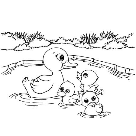 Cartoon duck lake coloring page vector illustration