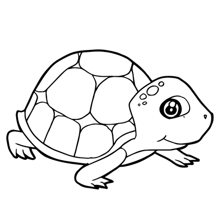 Cartoon Cute Turtle Coloring Page Vector Illustration Royalty Free