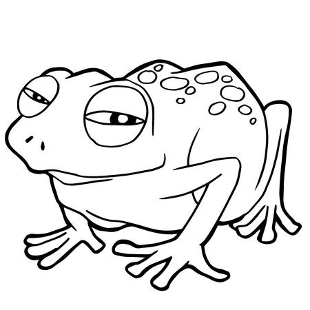 cartoon cute frog coloring page vector illustration
