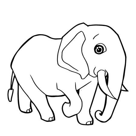 A cartoon cute elephant coloring page vector illustration.