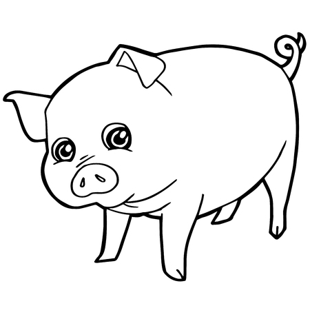 colorless: cartoon cute pig coloring page vector illustration