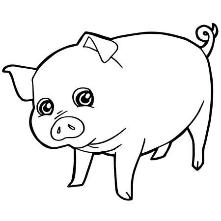 Dibujos Animados Lindo Cerdo Para Colorear Página Ilustración ...